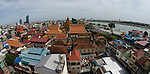 Phnom Penh skyline looking towrds Wat Ounalom and the Tonle Sap river