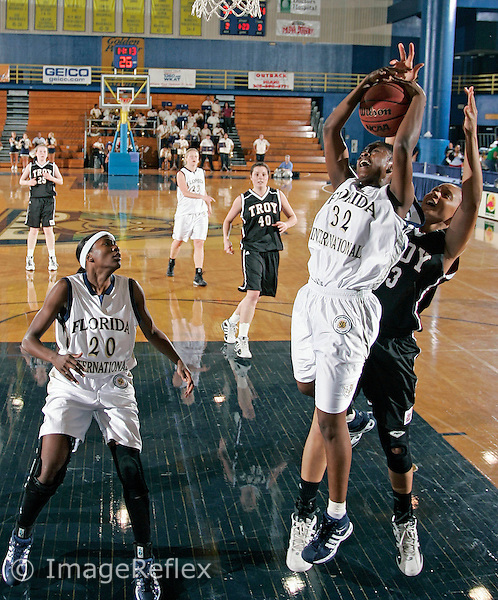 Florida International University Junior guard LaQuetta Ferguson (32) rebounds against Troy University on February 28, 2007, at Miami, Florida.   FIU won the game 61-49.