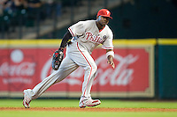 Philadelphia Phillies first baseman Ryan Howard #6 on defense during the Major League Baseball game against the Houston Astros at Minute Maid Park in Houston, Texas on September 14, 2011. Philadelphia defeated Houston 1-0 to clinch a playoff berth.  (Andrew Woolley/Four Seam Images)