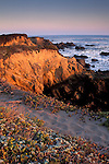 Sunset light and path on top of rocky coastal bluffs over the Pacific Ocean, Piedras Blancas, near San Simeon, California