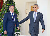 United States President Barack Obama and Prime Minister Matteo Renzi of Italy arrive to hold a joint press conference in the Rose Garden of the the White House in Washington, DC on Tuesday, October 18, 2016. <br /> Credit: Ron Sachs / CNP