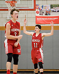WOLCOTT, CT-031418JS07- Wamogo's Ethan Collins (11) and Sean Coffey celebrate during the final minutes of their win over East Hampton in their Division V semifinal game Wednesday at Wolcott High School. <br /> Jim Shannon Republican-American