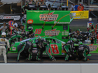 Apr 22, 2006; Phoenix, AZ, USA; Nascar Nextel Cup driver J.J. Yeley of the (18) Interstate Batteries Chevrolet Monte Carlo makes a pit stop during the Subway Fresh 500 at Phoenix International Raceway. Mandatory Credit: Mark J. Rebilas-US PRESSWIRE Copyright © 2006 Mark J. Rebilas..