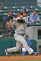 Josh Fellhauer #2 of the Lynchburg Hillcats at bat during a game against the Myrtle Beach Pelicans at BB&T Coastal Field on May 25, 2010 in Myrtle Beach. Photo by Robert Gurganus/Four Seam Images.
