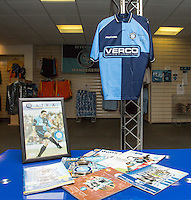The Wycombe Shirt worn by Paul McCarthy (who recently passed away) in the FA Cup Semi-Final is displayed in the Reception ahead of the Sky Bet League 2 match between Wycombe Wanderers and Crawley Town at Adams Park, High Wycombe, England on 25 February 2017. Photo by Andy Rowland / PRiME Media Images.