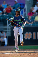Vermont Lake Monsters Kevin Richards (24) at bat during a NY-Penn League game against the Aberdeen IronBirds on August 18, 2019 at Leidos Field at Ripken Stadium in Aberdeen, Maryland.  Vermont defeated Aberdeen 6-5.  (Mike Janes/Four Seam Images)