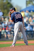 Boston Red Sox pitcher Pete Ruiz #98 during a Grapefruit League Spring Training game against the Tampa Bay Rays at Charlotte County Sports Park on February 25, 2013 in Port Charlotte, Florida.  Tampa Bay defeated Boston 6-3.  (Mike Janes/Four Seam Images)