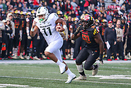 College Park, MD - November 3, 2018:  Michigan State Spartans running back Connor Heyward (11) runs the ball during the game between Michigan St. and Maryland at  Capital One Field at Maryland Stadium in College Park, MD.  (Photo by Elliott Brown/Media Images International)
