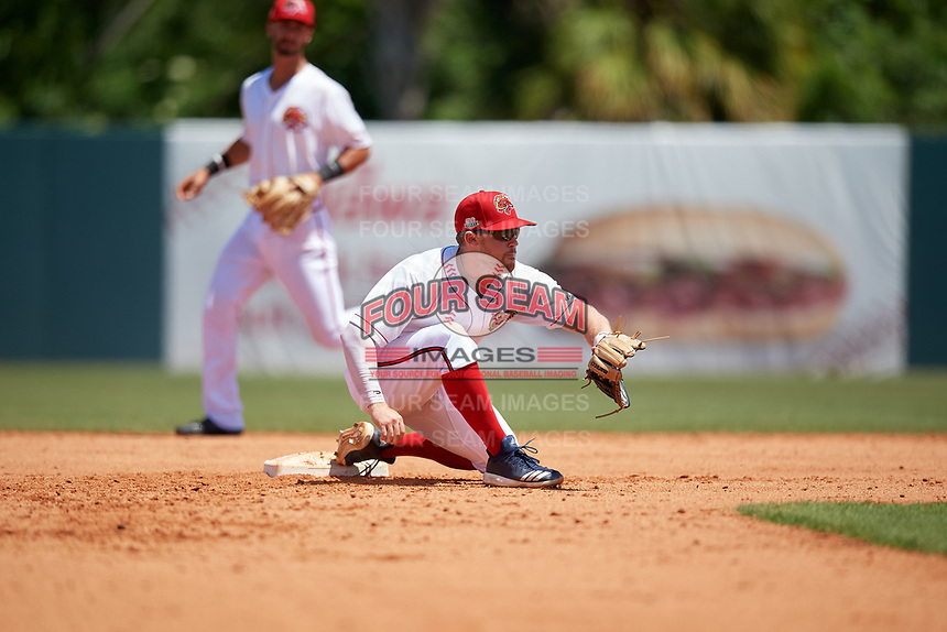 Florida Fire Frogs shortstop Riley Unroe (7) waits for a throw during a Florida State League game against the Jupiter Hammerheads on April 11, 2019 at Osceola County Stadium in Kissimmee, Florida.  Jupiter defeated Florida 2-0.  (Mike Janes/Four Seam Images)