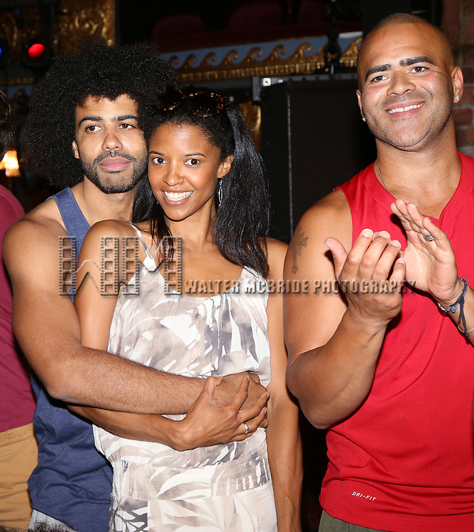Daveed Diggs, Renee Elise Goldsberry and Christopher Jackson attends the Broadway Opening Night Actors' Equity Gypsy Robe Ceremony honoring Betsy Struxness of 'Hamilton at the Richard Rodgers Theatre on August 6,, 2015 in New York City.