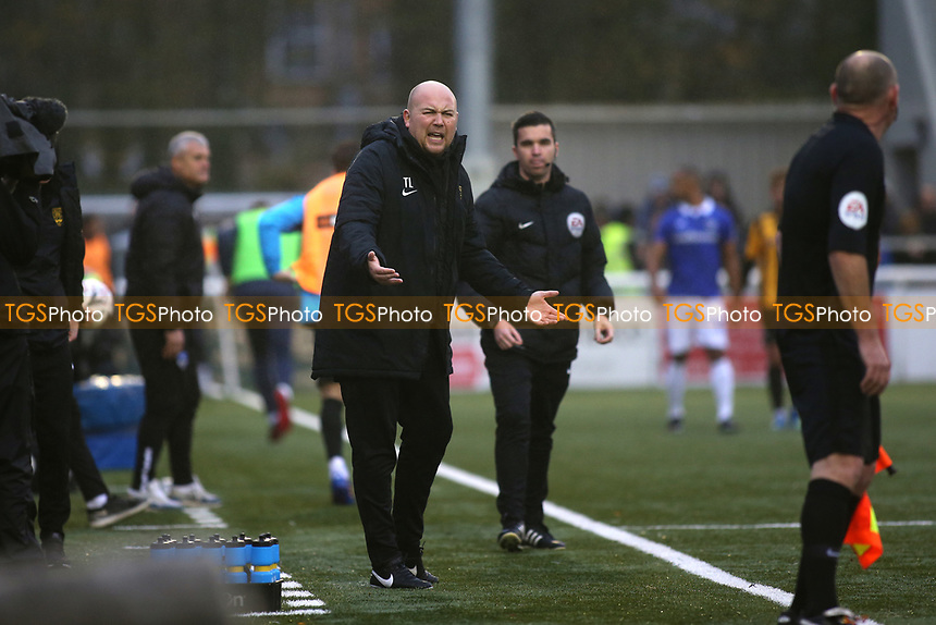 Maidstone United Assistant Manager, Tristan Lewis, has words with the Assistant Referee during Maidstone United vs Oldham Athletic, Emirates FA Cup Football at the Gallagher Stadium on 1st December 2018