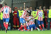 BUKARESZT 09.05.2012.MECZ FINAL LIGA EUROPY SEZON 2011/12: ATLETICO MADRYT - ATHLETIC BILBAO --- UEFA EUROPA LEAGUE FINAL 2012 IN BUCHAREST: CLUB ATLETICO DE MADRID - ATHLETIC CLUB DE BILBAO.GABI  FALCAO  MIRANDA  DIEGO.FOT. PIOTR KUCZA.---.Newspix.pl