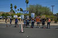 Phoenix AZ - June 23: Protesters outside of Donald Trump rally at Dream City Church in Phoenix, Arizona on June 23, 2020. <br /> CAP/MPI/RMP<br /> ©RMP/MPI/Capital Pictures