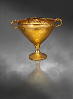 Mycenaean gold goblet with two handles ening with a dogs head biting the rim,  Acropolis Treasure of Mycenae, Greece, National Archaeological Museum of Athens.  Grey art Background <br /> <br /> This goblet was found as part of a hoard looted in antiquity from Grave Circle A and buried outside the enclosure. 15th century BC