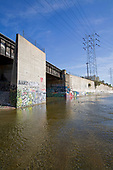 From 2008. The Arroya Seco meets the Los Angeles River at The Confluence, Stop on Folar's tour of the LA River, Los Angeles, California, USA