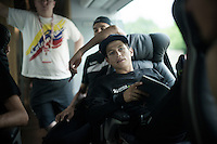 Johan Esteban Chaves (COL/Orica-GreenEDGE) during the pre-stage team meeting on the Orica-GreenEDGE teambus with the roadbook on his lap<br /> <br /> stage 19: Pinerolo(IT) - Risoul(FR) 162km<br /> 99th Giro d'Italia 2016