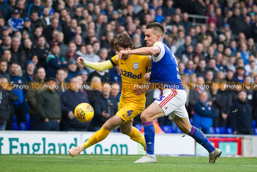 Ben Pearson of Preston North End clears under pressure from Jonas Knudsen of Ipswich Town during Ipswich Town vs Preston North End, Sky Bet EFL Championship Football at Portman Road on 3rd November 2018