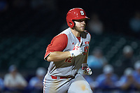 Brad Debo (12) of the North Carolina State Wolfpack hustles down the first base line against the North Carolina Tar Heels in Game Twelve of the 2017 ACC Baseball Championship at Louisville Slugger Field on May 26, 2017 in Louisville, Kentucky. The Tar Heels defeated the Wolfpack 12-4. (Brian Westerholt/Four Seam Images)