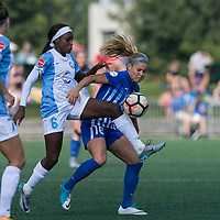 Boston, MA - Saturday August 19, 2017: Chioma Ubogagu, Rosie White during a regular season National Women's Soccer League (NWSL) match between the Boston Breakers (blue) and the Orlando Pride (white/light blue) at Jordan Field. Orlando Pride defeated Boston Breakers, 2-1.