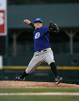 2007:  Sean Tracey of the Norfolk Tides delivers a pitch vs the Rochester Red Wings in International League baseball action.  Photo by Mike Janes/Four Seam Images