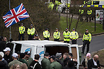 © Joel Goodman - 07973 332324 . 25/02/2017. Telford, UK. Hundreds of police , including mounted units and vehicles , manage a Britain First demonstration and march in Telford , which is opposed by anti-fascist groups . Britain First say they are highlighting concerns about child sexual exploitation in the town . Photo credit : Joel Goodman