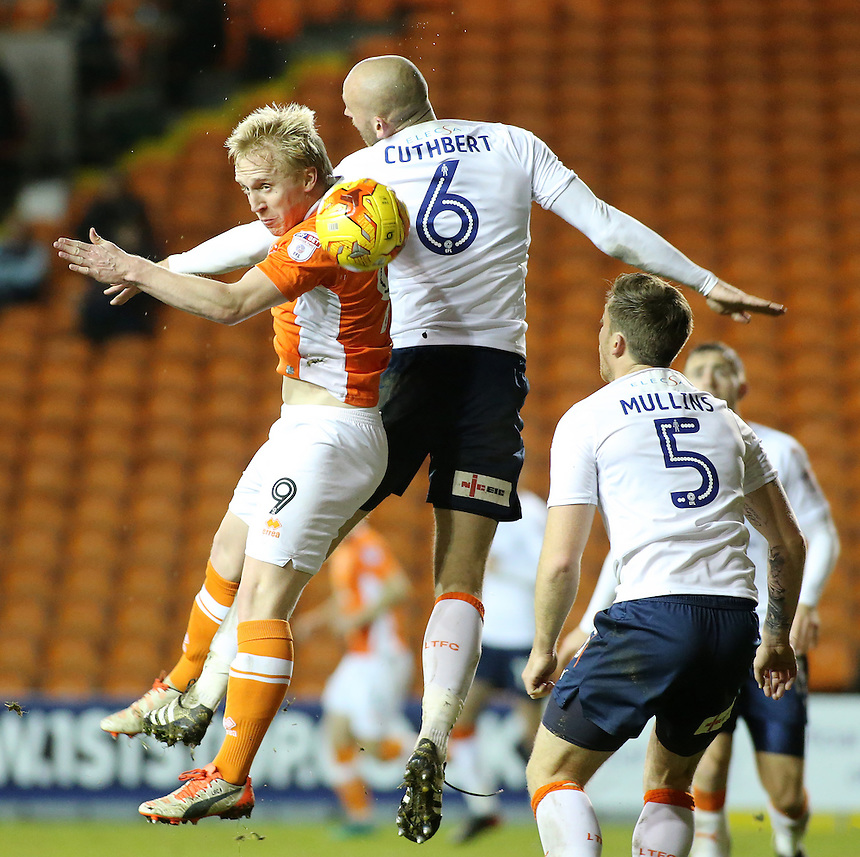 Blackpool's Mark Cullen battles with Luton Town's Scott Cuthbert<br /> <br /> Photographer David Shipman/CameraSport<br /> <br /> The EFL Sky Bet League Two - Blackpool v Luton Town - Saturday 17th December 2016 - Bloomfield Road - Blackpool<br /> <br /> World Copyright &copy; 2016 CameraSport. All rights reserved. 43 Linden Ave. Countesthorpe. Leicester. England. LE8 5PG - Tel: +44 (0) 116 277 4147 - admin@camerasport.com - www.camerasport.com