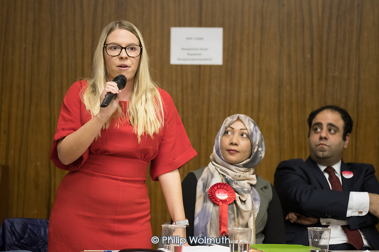 Labour Councillor Lorna Russell speaking, Hustings with Conservative, Labour, Liberal Democrats and Green local election candidates for 2 of the 18 council wards, Camden, London. Nazma Rahman (C), Peter Taheri (R)