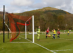 Keswick 1 Kendal 1, 15/04/2017. Fitz Park, Westmoreland League. A Kendal player glances a header wide in injury time. Photo by Paul Thompson.