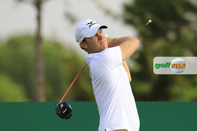 Magnus A Carlsson (SWE) tees off the 15th tee during Thursday's Round 1 of the 2016 Portugal Masters held at the Oceanico Victoria Golf Course, Vilamoura, Algarve, Portugal. 19th October 2016.<br /> Picture: Eoin Clarke | Golffile<br /> <br /> <br /> All photos usage must carry mandatory copyright credit (&copy; Golffile | Eoin Clarke)