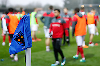 Chartlon Athletic warm up by the AFC Wimbledon corner flag during the Sky Bet League 1 match between AFC Wimbledon and Charlton Athletic at the Cherry Red Records Stadium, Kingston, England on 10 April 2018. Photo by Carlton Myrie / PRiME Media Images.