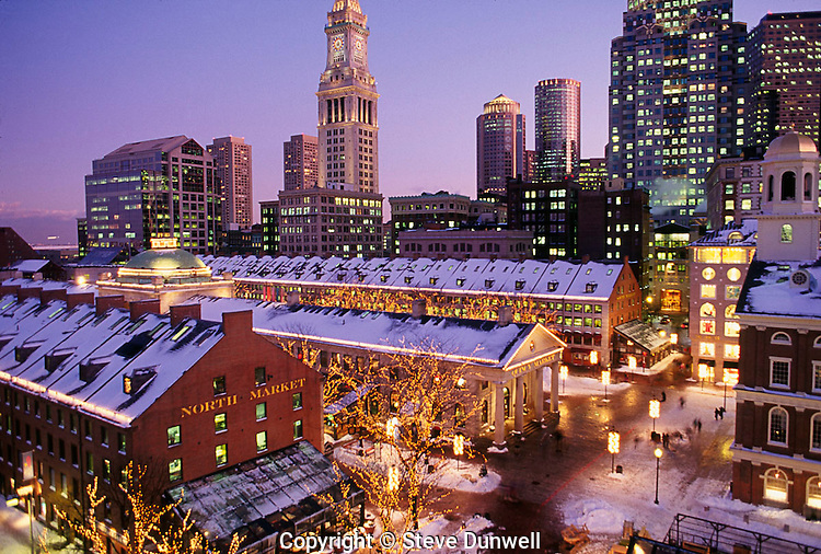 Faneuil Hall, Quincy Market and Customs House Tower, winter snow evening,  Boston, MA