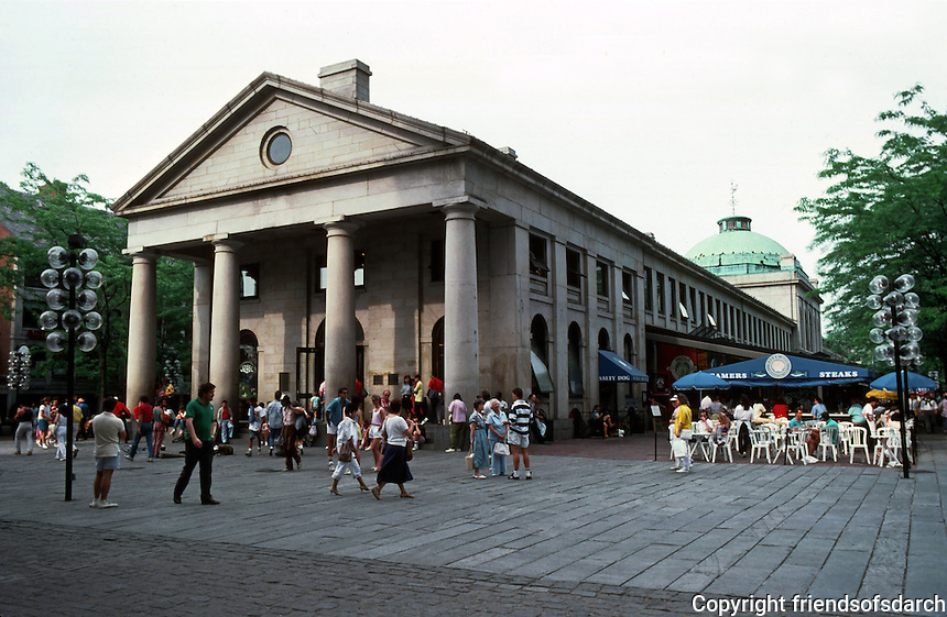 Boston:  Fanueuil Hall Markets--West end of former Quincy Market, with dome at Center visible, 1825.  Photo '88.