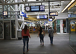 People in the concourse of Leiden Central railway station, Netherlands