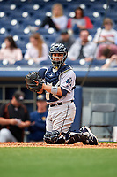 New Orleans Baby Cakes catcher Ramon Cabrera (38) during a game against the Nashville Sounds on May 1, 2017 at First Tennessee Park in Nashville, Tennessee.  Nashville defeated New Orleans 6-4.  (Mike Janes/Four Seam Images)