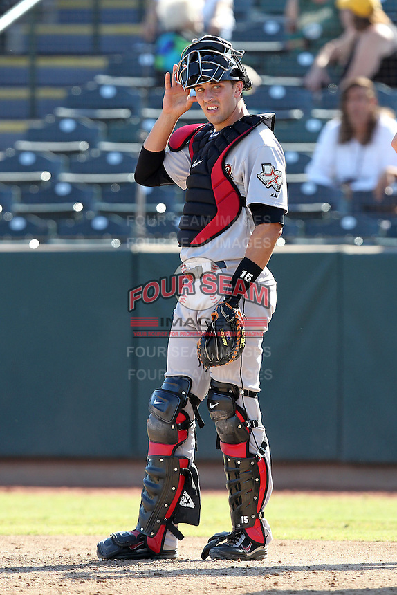 Salt River Rafters catcher Jason Castro #18 during an Arizona Fall League game against the Phoenix Desert Dogs at Phoenix Municipal Stadium on November 1, 2011 in Phoenix, Arizona.  Salt River defeated Phoenix 10-7.  (Mike Janes/Four Seam Images)