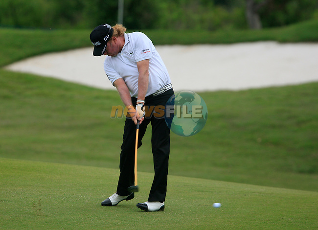 Miguel Angel Jimenez (ESP) plays his 2nd shot on the 8th hole during Day 2 of the Volvo World Match Play Championship in Finca Cortesin, Casares, Spain, 20th May 2011. (Photo Eoin Clarke/Golffile 2011)
