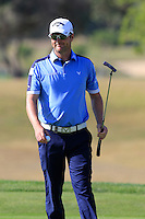 Marc Warren (SCO) sinks his putt on the 9th green during Thursday's Round 1 of the 2016 Portugal Masters held at the Oceanico Victoria Golf Course, Vilamoura, Algarve, Portugal. 19th October 2016.<br /> Picture: Eoin Clarke   Golffile<br /> <br /> <br /> All photos usage must carry mandatory copyright credit (© Golffile   Eoin Clarke)