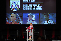 San Francisco, CA - Saturday Feb. 14, 2015: US  Soccer Hall of Fame inductee Kristine Lilly speaks at the 2014 US Soccer Hall of Fame Induction ceremony.