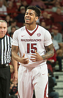 NWA Democrat-Gazette/ANTHONY REYES &bull; @NWATONYR<br /> Anton Beard, Arkansas freshman, laments a foul call against Tennesse in the second half Tuesday Jan. 27, 2015 at Bud Walton Arena in Fayetteville. The Razorbacks won 69-64.