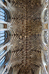 Vaulted stone roof ceiling of the chancel inside Norwich Cathedral, Norfolk, England, UK