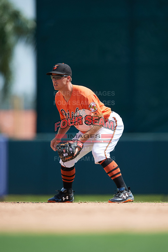 Baltimore Orioles second baseman Drew Dosch (66) during an Instructional League game against the Atlanta Braves on September 25, 2017 at Ed Smith Stadium in Sarasota, Florida.  (Mike Janes/Four Seam Images)