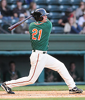 April 20, 2009: Outfielder Justin Jacobs (21) of the Greensboro Grasshoppers, Class A affiliate of the Florida Marlins, in a game against the Greenville Drive at Fluor Field at the West End in Greenville, S.C. Photo by: Tom Priddy/Four Seam Images