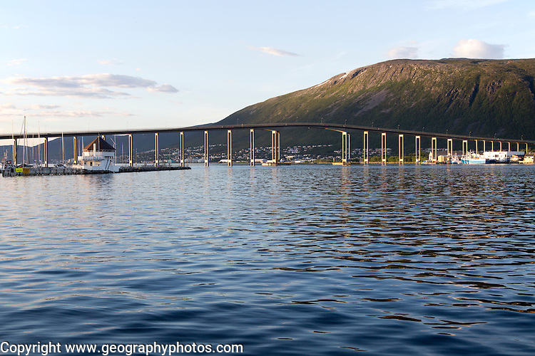Tromso Bridge, cantilever road bridge, city of Tromso, Norway,