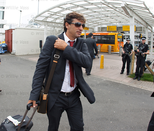 Braga manager Domingos Paciencia arrives in Glasgow with his team