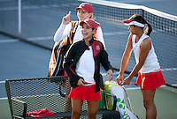 STANFORD, CA - January 26, 2011: Stanford women's tennis team react to fans during their match against UC Davis. Stanford won 7-0 overall.