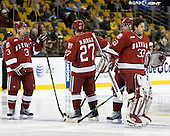 Alex Biega (Harvard - 3), Michael Biega (Harvard - 27), Kyle Richter (Harvard - 33) - The Boston College Eagles defeated the Harvard University Crimson 6-0 on Monday, February 1, 2010, in the first round of the 2010 Beanpot at the TD Garden in Boston, Massachusetts.