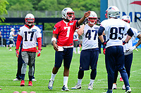 June 7, 2017: New England Patriots quarterback Jacoby Brissett (7) directs the offense at the New England Patriots mini camp held on the practice field at Gillette Stadium, in Foxborough, Massachusetts. Eric Canha/CSM