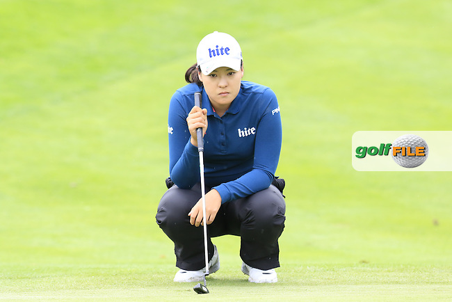 In Gee Chun (KOR) on the 13th green during Saturday's Round 3 of The 2016 Evian Championship held at Evian Resort Golf Club, Evian-les-Bains, France. 17th September 2016.<br /> Picture: Eoin Clarke   Golffile<br /> <br /> <br /> All photos usage must carry mandatory copyright credit (&copy; Golffile   Eoin Clarke)