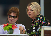 Corinna Schumacher wife of Michael Schumacher (R) and her mother during the Bahrain Grand Prix at Bahrain International Circuit, Sakhir,  on 31 March 2019. Photo by Vince  Mignott.