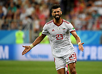 SARANSK - RUSIA, 25-06-2018: Ramin REZAEIAN jugador de RI de Irán celebra después de anotar un gol a Portugal durante partido de la primera fase, Grupo B, por la Copa Mundial de la FIFA Rusia 2018 jugado en el estadio Mordovia Arena en Saransk, Rusia. /  Ramin REZAEIAN player of IR Iran celebrates after scoring a goal to Portugal during match of the first phase, Group B, for the FIFA World Cup Russia 2018 played at Mordovia Arena stadium in Saransk, Russia. Photo: VizzorImage / Julian Medina / Cont